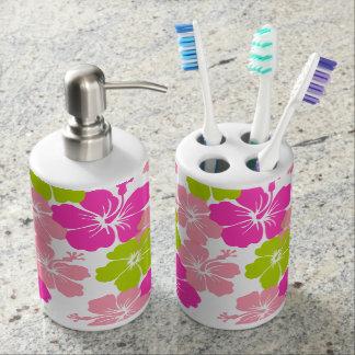 PixDezines hibiscus/DIYbackground Soap Dispenser And Toothbrush Holder
