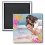 PixDezines hibiscus leis, Save the Date 2 Inch Square Magnet