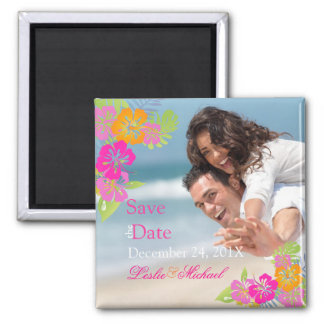 PixDezines hibiscus leis, Save the Date Refrigerator Magnet