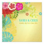 PixDezines Hibiscus+monstera/yellow+aqua 5.25x5.25 Square Paper Invitation Card