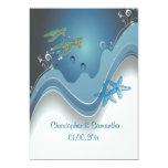 PixDezines honu+waves/diy background 5x7 Paper Invitation Card