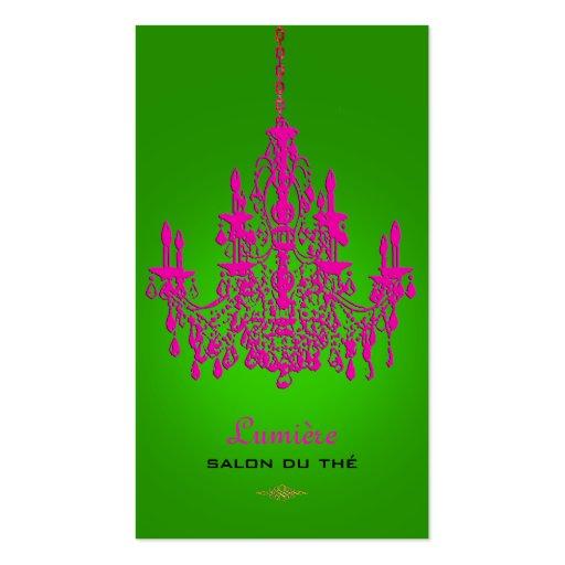 PixDezines hot pink crystal chandelier/DIY color Business Cards