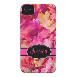 PixDezines hot pink maple leaves/fall iPhone 4 Cover