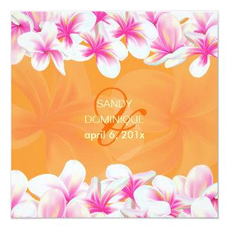 PixDezines hot pink plumeria/DIY background color 5.25x5.25 Square Paper Invitation Card