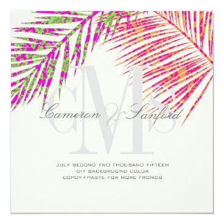 PixDezines hula fronds/diy background color+fonts 5.25x5.25 Square Paper Invitation Card