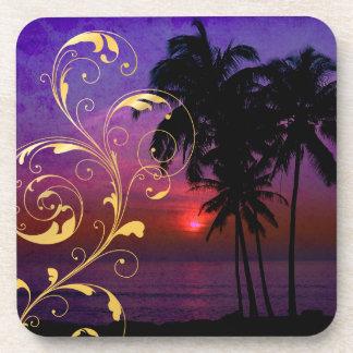 PixDezines hula sunset+filigree swirls Drink Coasters