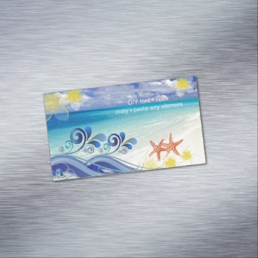 Create_Business_Card PixDezines hula wave/plumeria/starfish Magnetic Business Card