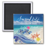 PixDezines hulawaves/beach+plumeria 2 Inch Square Magnet