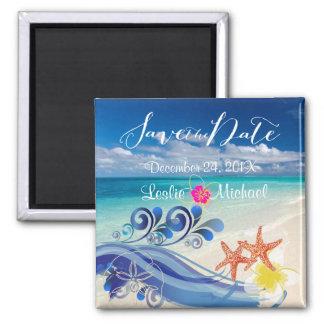 PixDezines hulawaves/beach+plumeria Refrigerator Magnets