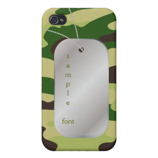 PixDezines Hunter Green Camo+Dog+Tag iPhone 4/4S Cover