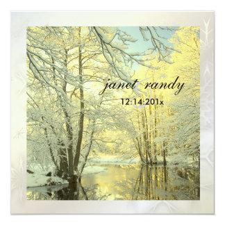 PixDezines In the Woods, Winter  Wedding 5.25x5.25 Square Paper Invitation Card