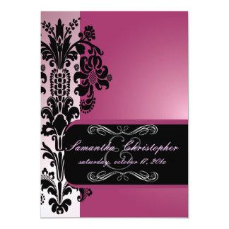 """PixDezines Isabella Damask, Black+Dusty Rose 5"""" X 7"""" Invitation Card"""