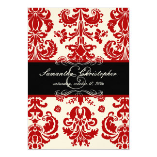 "PixDezines Isabella Damask, Black+Red 5"" X 7"" Invitation Card"