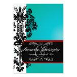 PixDezines Isabella Damask, Black+Red+Teal 5x7 Paper Invitation Card