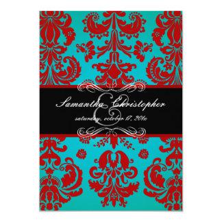 "PixDezines Isabella Damask, Black+Red+Teal 5"" X 7"" Invitation Card"