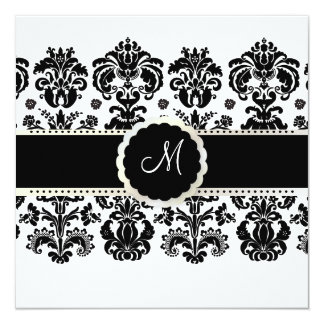 "PixDezines Isabella Damask / Black + White 5.25"" Square Invitation Card"