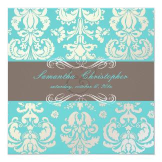 "PixDezines Isabella Damask, Cocoa+Aqua 5.25"" Square Invitation Card"