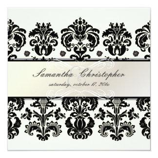 "PixDezines Isabella Damask | DIY color, ivory 5.25"" Square Invitation Card"