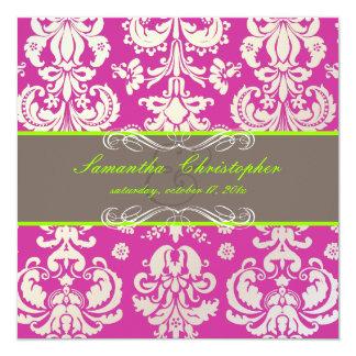 "PixDezines Isabella Damask, Fuschia+Lime 5.25"" Square Invitation Card"