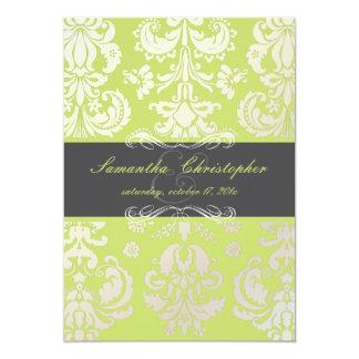 "PixDezines Isabella Damask, Graphite+Lime 5"" X 7"" Invitation Card"