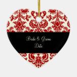 PixDezines Isabella Damask, Red/DIY background Christmas Ornaments