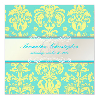 "PixDezines Isabella Damask, Yellow+Blue/DIY color 5.25"" Square Invitation Card"