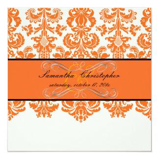 """PixDezines Isabella tangerine/DIY background color 5.25"""" Square Invitation Card"""