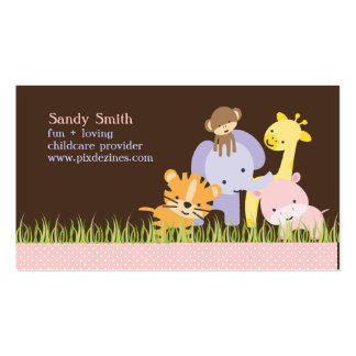 PixDezines Jungle of Fun Daycare Double-Sided Standard Business Cards (Pack Of 100)