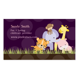 PixDezines Jungle of Fun Daycare, DIY colors Double-Sided Standard Business Cards (Pack Of 100)