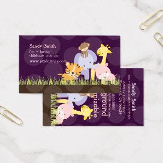 PixDezines Jungle of Fun Daycare, DIY colors Business Card
