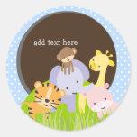 PixDezines Jungle stickers//DIY background color Classic Round Sticker