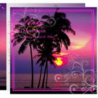 PixDezines Kaui Sunset Swirls/tropical wedding Invitation