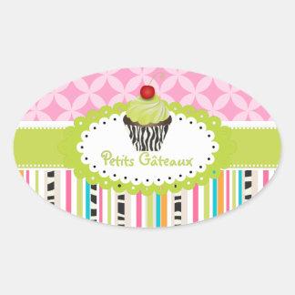 PixDezines keylime  swirls cupcake/DIY color Oval Sticker