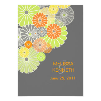 PixDezines Kiku (chrysanthemum), citrus color Custom Invitation