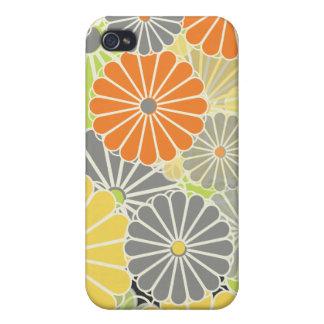 PixDezines Kiku, Chrysanthemums in citrus colors Cover For iPhone 4