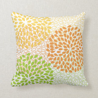 PixDezines kiku lime+orange/chrysanthemum Throw Pillow