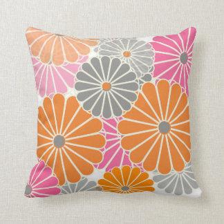 PixDezines kiku pink+orange/chrysanthemum Throw Pillow