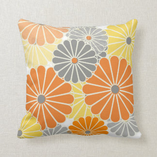 PixDezines kiku yellow/grey/orange/chrysanthemum Throw Pillow