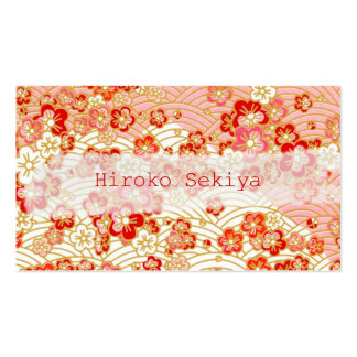 PixDezines kimono/faux chirimen/sakura Business Card