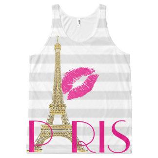 PixDezines kiss la tour eiffel/paris/DIY text All-Over Print Tank Top