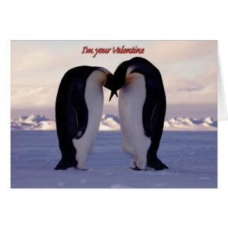 PixDezines Kissing Emperor Penguin Valentine's Card