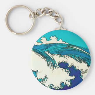 PixDezines konen las olas oceánicas del uehara, 上原 Llavero Redondo Tipo Pin