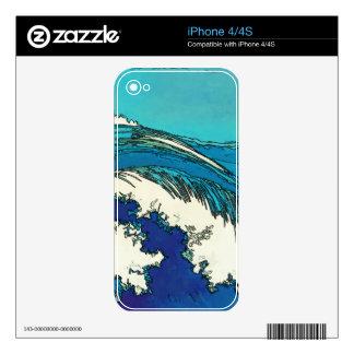 PixDezines konen uehara ocean waves, 上原 Decal For iPhone 4