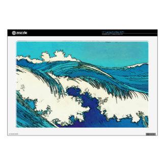 """PixDezines konen uehara ocean waves, 上原 Decals For 17"""" Laptops"""