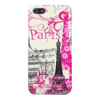 PixDezines La Tour Eiffel, pink swirls/DIY color iPhone SE/5/5s Case