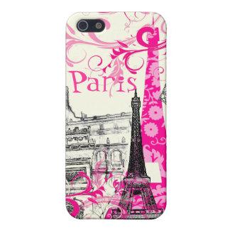 PixDezines La Tour Eiffel, pink swirls/DIY color iPhone SE/5/5s Cover