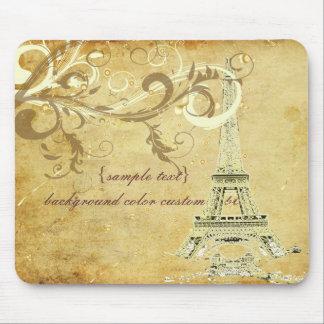 PixDezines La Tour Eiffel+Swirls Faux Parchment Mouse Pad