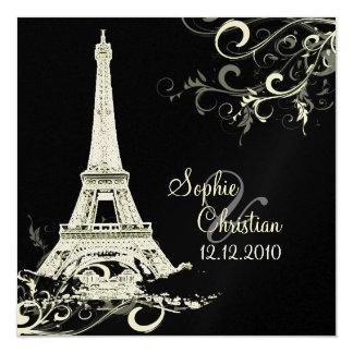 PixDezines La Tour Eiffel+Swirls Invitation