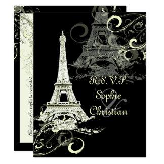 PixDezines LARGE RSVP/LA TOUR EIFFEL/CREAM SWIRLS Card