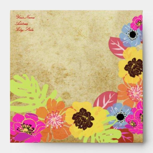 PixDezines Leis / Luau on Faux Parchment Envelope